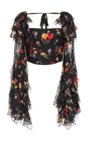 Rodarte Floral Printed Silk Satin Cropped Blouse