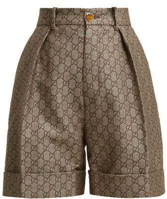 Gg High Rise Cotton And Wool Blend Shorts - Womens - Beige Multi