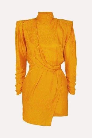 Draped Open-back Satin-jacquard Mini Dress - Yellow