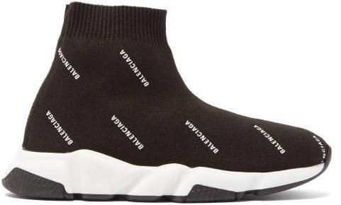 Kids - Speed High Top Sock Trainers - Womens - Black