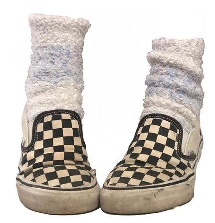 fuzzy socks and checkered vans