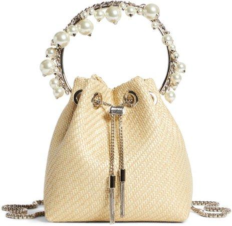 Bon Bon Imitation Pearl Embellished Woven Bucket Bag