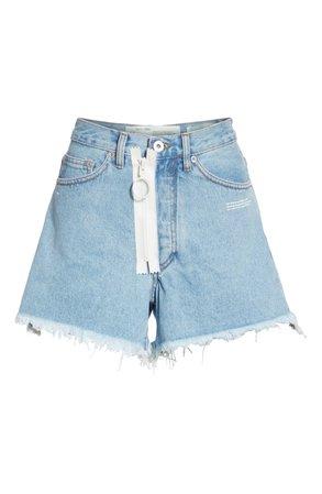 Off-White Embroidered Cutoff Denim Shorts (Medium Blue) | Nordstrom