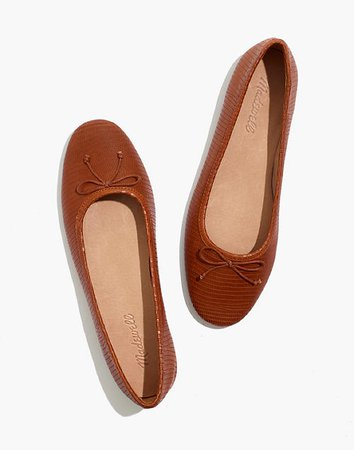 The Adelle Ballet Flat in Lizard Embossed Leather