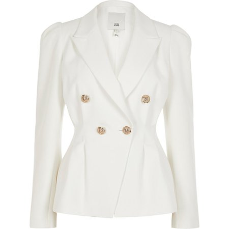 White double breasted pleated waist blazer   River Island