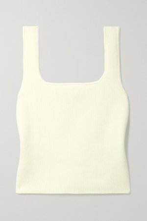 Julia Cropped Ribbed Organic Cotton-blend Tank - Ivory