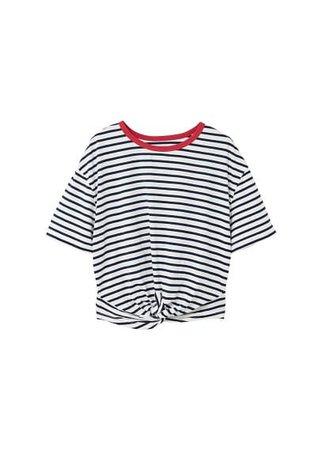MANGO Knotted striped t-shirt