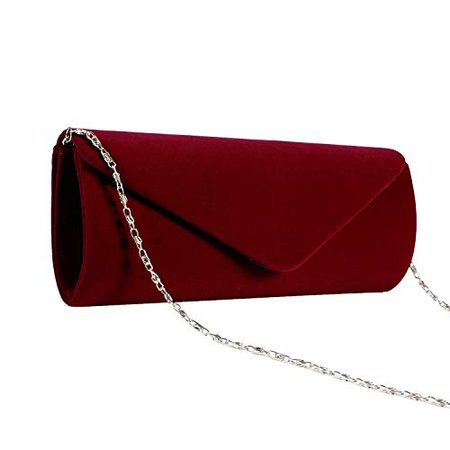 Jubileens Wedding Evening Party Velvet Clutch Bag Retro Envelope Cross Body Handbag, Wine Red: Handbags: Amazon.com
