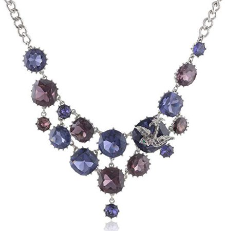 "Betsey Johnson ""Iconic Amethyst"" Crystal Gem and Bird Necklace, 19"": Betsey Johnson Jewelry: Clothing"