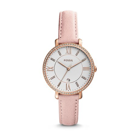 Jacqueline Three-Hand Date Blush Leather Watch - Fossil