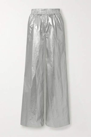 Boyfriend Elephant Metallic Shell Wide-leg Pants - Silver