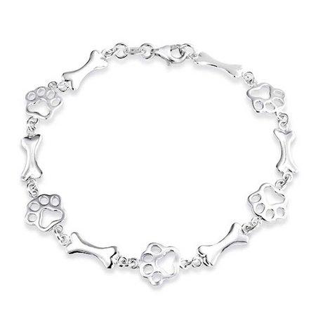 925 Sterling Silver Dog Bone Jewelry Bracelet Animal Paw Print