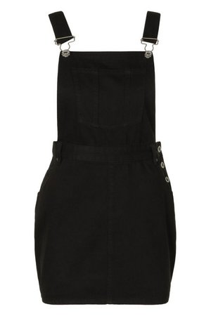 Denim Pinafore Dress | boohoo black