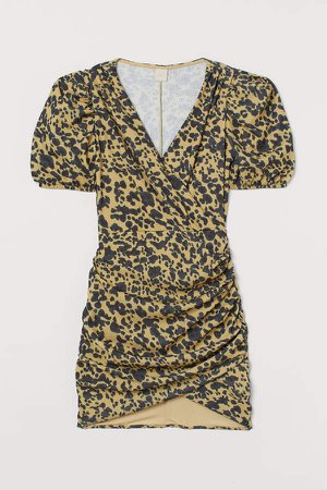 Puff-sleeved Wrap Dress - Yellow