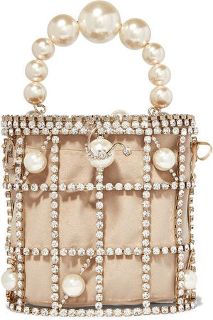 Olimpia Crystal And Faux Pearl-embellished Gold-tone And Velvet Tote