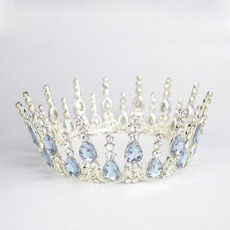 Multi-crystal Silver Queen Wedding Crown Tiaras in Clear Sky Blue
