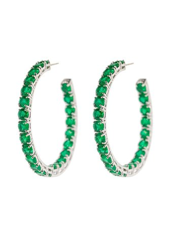 BAYCO 18kt White Gold Emerald Hoop Earrings - Farfetch