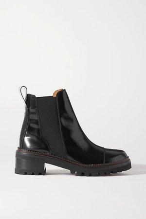 Logo-debossed Patent-leather Chelsea Boots - Black