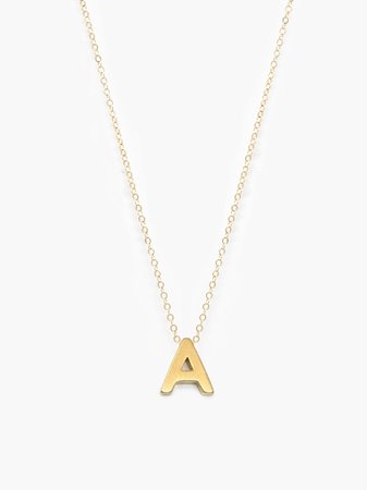"""gold """"a"""" necklace"""