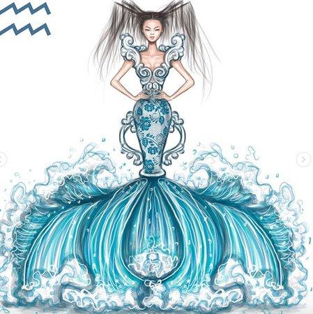 aquarius fashion sketch