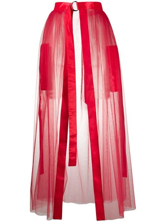 Loulou Sheer Front Slit Skirt - Farfetch