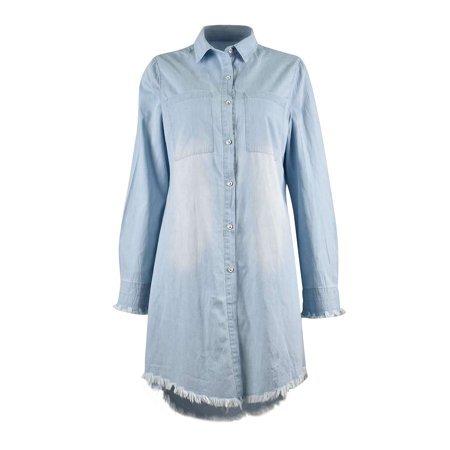 Sexy Dance - Women Long Sleeve Casual Denim Mini Shirt Dress Ladies Long Lapel V Neck Blouse Tassel Denim Top T-Shirt Button Boyfriend Shirt Mini Dress Baggy Loose Long High Low Top Blouse - Walmart.com