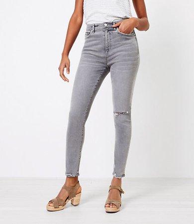 The Chewed Hem High Waist Skinny Jean in Silver Grey