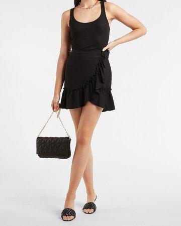 High Waisted Ruffle Wrap Pull-On Mini Skirt