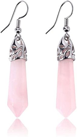 KISSPAT Real Natural Rose Quartz Healing Point Crystal Gemstone Chakra Dangle Earrings