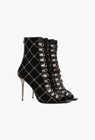 Black Suede Ryana Ankle Boots With Rhinestones for Women - Balmain.com