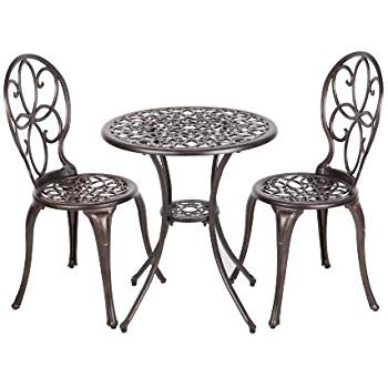 Amazon.com: Lyon Black With Bronze Metal Outdoor Bistro Set: Garden & Outdoor
