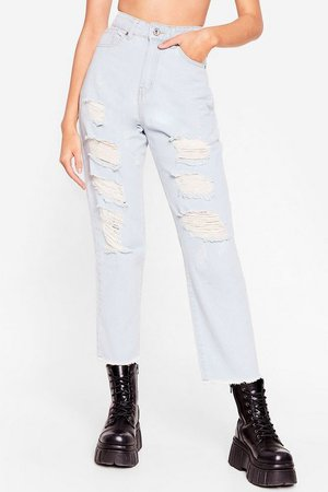 You Shred It Distressed Mom Jeans | Nasty Gal