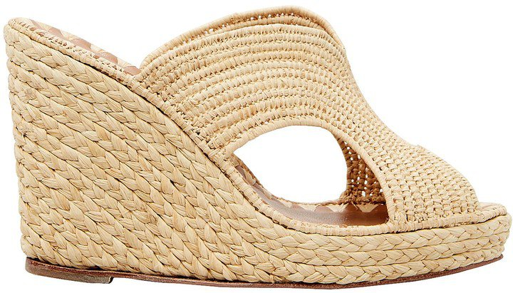 Lina Raffia Wedge Sandals