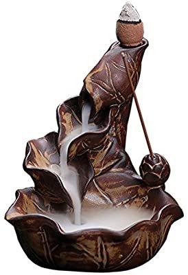 Amazon.com: OCIOLI Ceramic Incense Burner Backflow Cones Sticks Holder Porcelain Lotus Pond Censer (Brown): Home & Kitchen