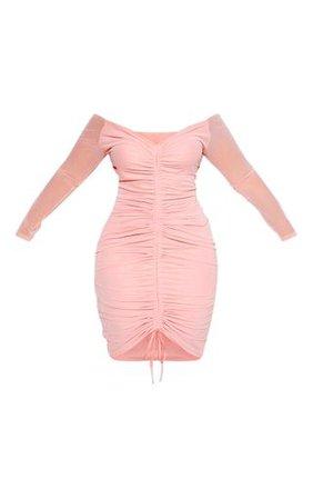 Plus Dusty Rose Mesh Ruched Bardot Midi Dress | PrettyLittleThing