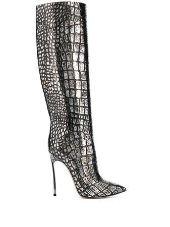 Casadei Blade Metallic knee-high Boots - Farfetch