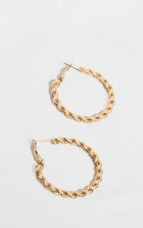 Gold Twist Link Small Hoop Earrings   PrettyLittleThing