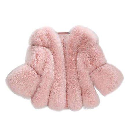 Yuxikong Women's Rabbit Faux Fur Coat Winter Chic Solid White Fluffy Fashion Lady Jacket Streetwear at Amazon Women's Coats Shop