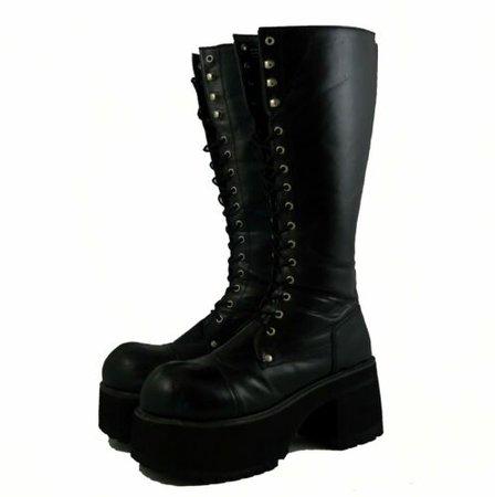 Demonia Cosplay Goth Black lace up side zip platform combat boot Mens size 11M | eBay