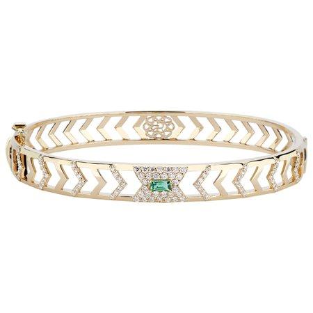 Gia Deco 14k Gold Bracelet with Diamonds and Emerald by GiGi Ferranti