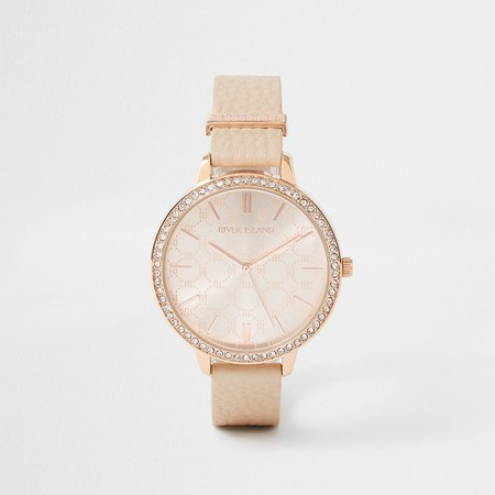 Orange Monogram Dial PU Strap Watch | River Island