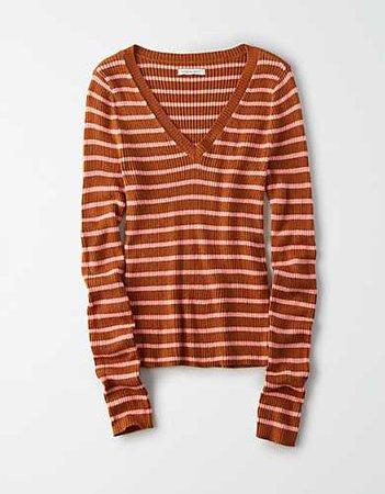 AE Striped V-Neck Bodycon Sweater orange