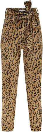 Raisa Vanessa Leopard-Print Velvet Pants