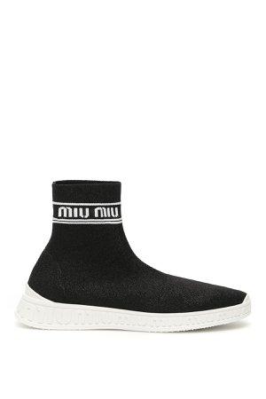 Miu Miu Logo Sock Sneakers