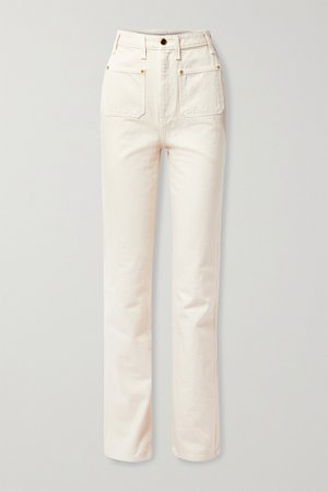 Ivory Isabella high-rise straight-leg jeans | Khaite | NET-A-PORTER