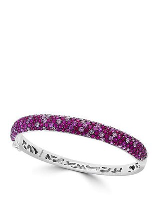 Effy® Sterling Silver Ruby, Pink And White Sapphire Bangle Bracelet