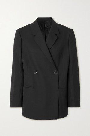 Loreo Oversized Double-breasted Woven Blazer - Black