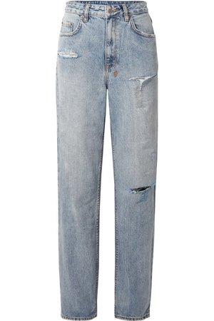KSUBI  + Kendall Jenner Playback distressed high-rise straight-leg jeans
