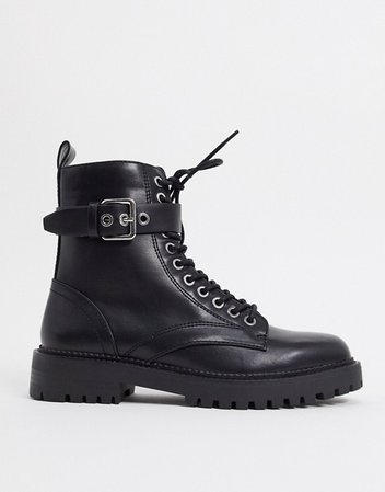 Pimkie lace up cleated sole ankle boots in black | ASOS