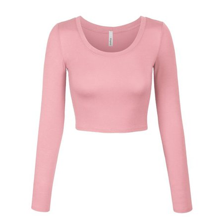 KOGMO - KOGMO Womens Long Sleeve Crop Top Solid Round Neck T Shirt - Walmart.com - Walmart.com